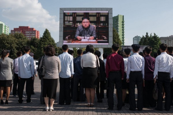 Norcoreanos durante la cadena nacional de Kim Jong Un || AFP