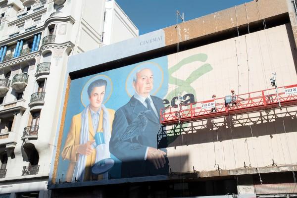 Nueva pintura en la fachada de Cinemateca Uruguaya, sala 18 de julio. En Av. 18 de julio casi Yaguaron. Montevideo, 28/03/2017. || Ricardo Antúnez / adhocFOTOS