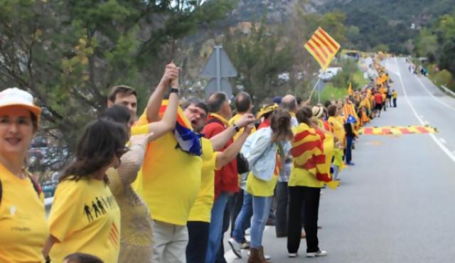 Cadena por la independencia en Cataluña