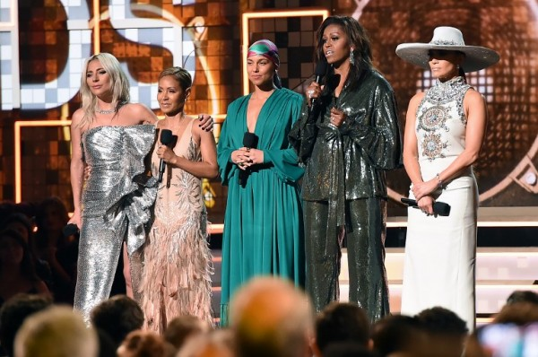 Lady Gaga, Jada Pinkett Smith, Alicia Keys, Michelle Obama y Jennifer Lopez  (AFP)