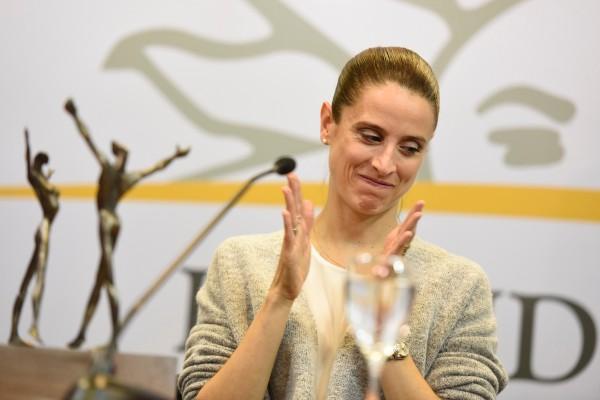 María Noel Riccetto, durante una conferencia de prensa y presentacion del premio que gano a mejor bailarina, el Benoise de la Danse, galardón más importante de la danza clásica en el mundo, en Torre Ejecutiva. || Nicolás Celaya /adhocFOTOS