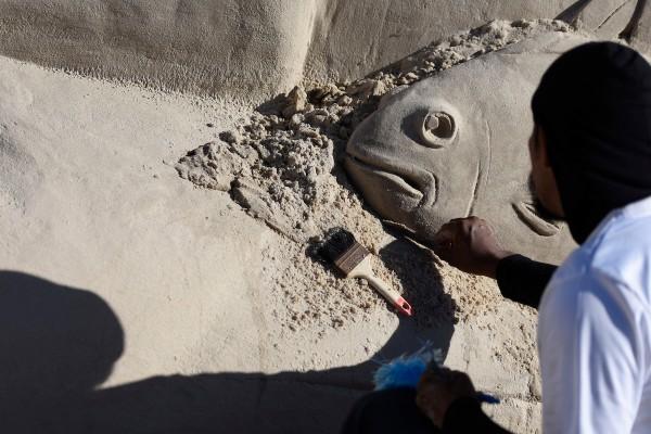 Castillos en la Arena, encuento de esculturas en arena en Marindia. || Nicolás Celaya