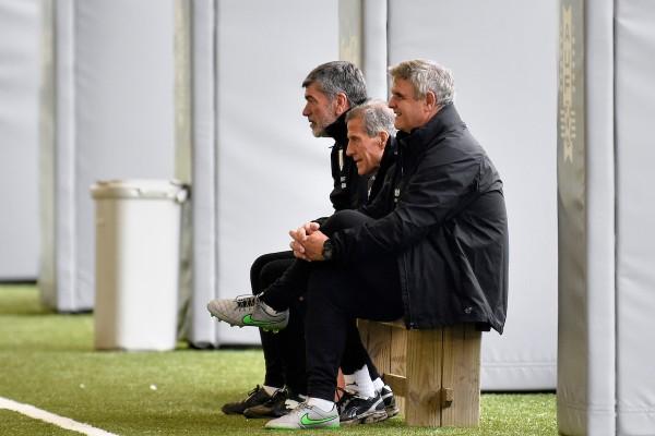 Entrenamiento, en el complejo de alto rendimiento de la Asociación Uruguaya de Fútbol. || Nicolás Celaya