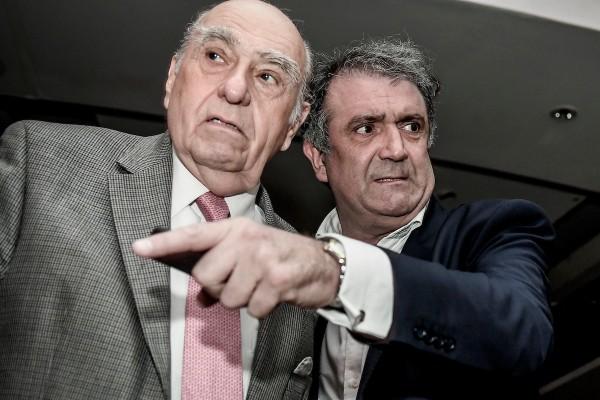 Julio María Sanguinetti y Gustavo Osta en acto de la agrupación Batllistas en el complejo Kibón de Montevideo. || Javier Calvelo