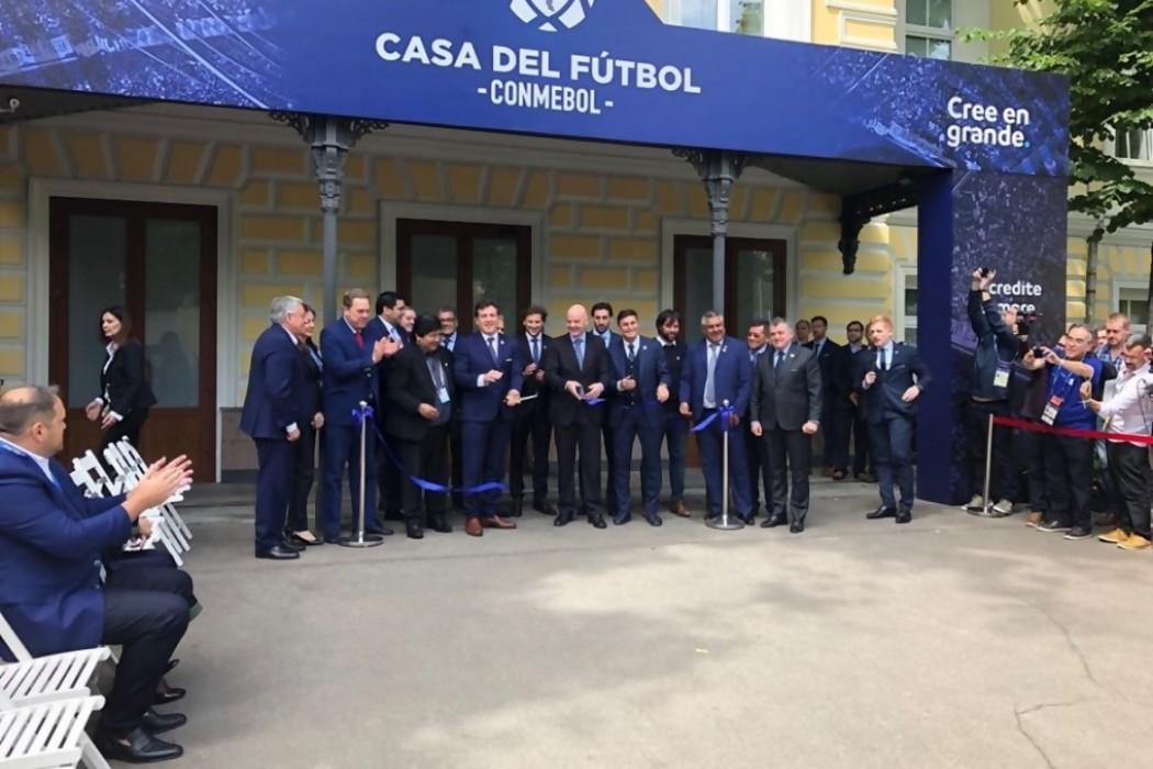 Conmebol inauguró Casa del Fútbol en Moscú con sueño de Mundial 2030 — 180 | Del Sol 99.5 en el Mundial Rusia 2018
