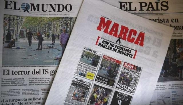 Prensa deportiva de España no habla de deporte tras atentados de Barcelona