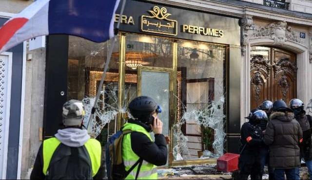 47970f9a7c2b 180.com.uy    Incendios y saqueos en Campos Elíseos en protesta de ...