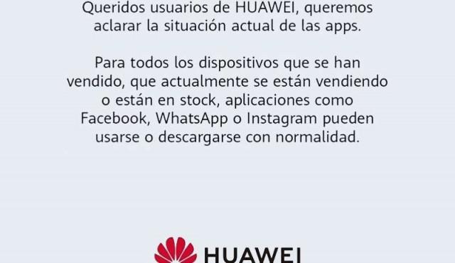 Huawei descarta que sus celulares vayan a quedarse sin Facebook