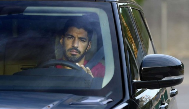 Último entrenamiento de Suárez en el Barcelona