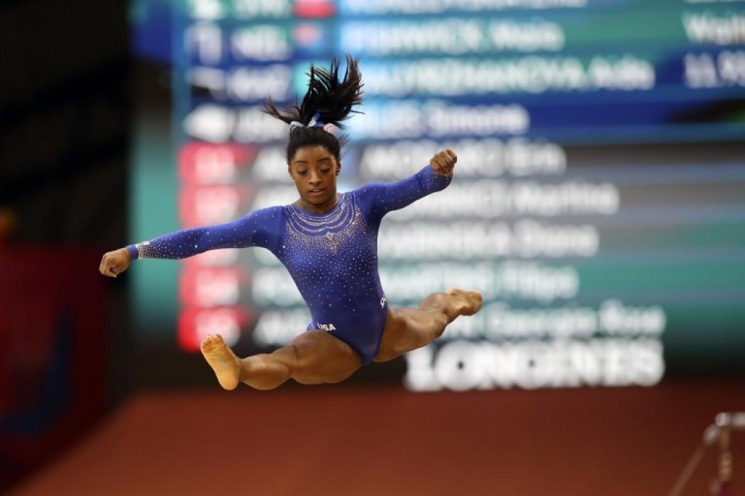 Simone Biles (KARIM JAAFAR / AFP) — Foto del dia | Del Sol 99.5 en el Mundial Rusia 2018