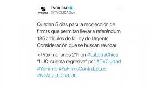 El tuit de TV Ciudad sobre el referéndum contra la LUC - Audios - DelSol 99.5 FM